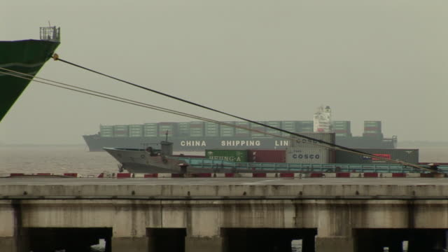 zi, ms, cargo ship in dock, china - container video stock e b–roll