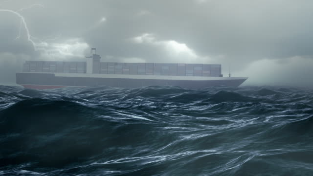 cargo ship in storm ocean - container ship stock videos & royalty-free footage