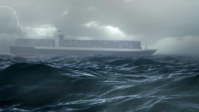 cargo ship in storm ocean - cargo ship stock videos & royalty-free footage