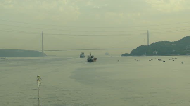 cargo ship in the bosphorus - bosphorus stock videos & royalty-free footage