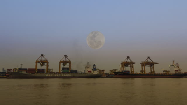 cargo ship in the harbor at full moon - imbarcazione per passeggeri video stock e b–roll