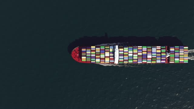 cargo ship in the ocean, top view