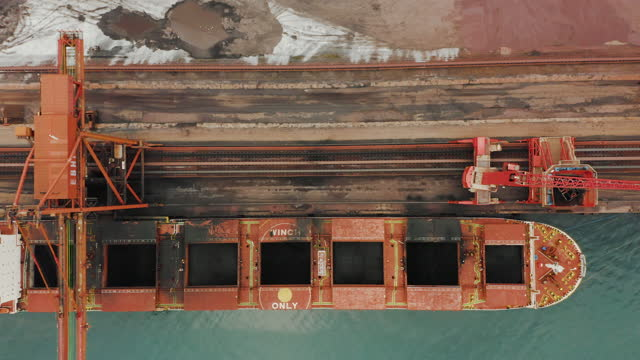 cargo ship in the port aerial view - coal mine stock videos & royalty-free footage