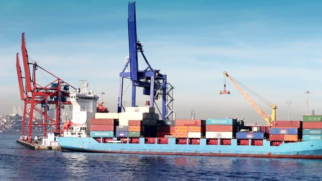 Cargo ship loading port