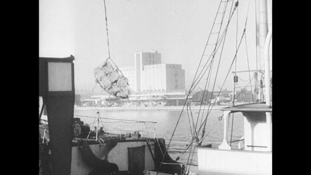 cargo ship moving on calm port waters ship being loaded at dock w/ crane la ws cargo ship at dock w/ mask being hosed down ls crane turning between... - 1937 stock videos and b-roll footage