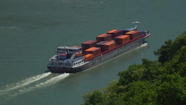 Cargo ship on Rhine River near Kaub, Rhineland-Palatinate, Germany