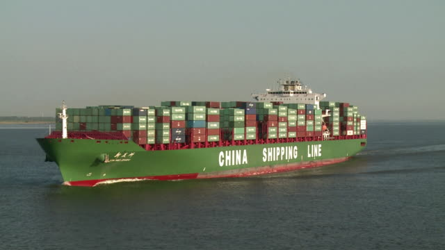 WS Cargo ship on river Elbe / Hamburg, Germany