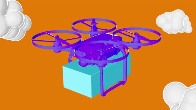 vídeos y material grabado en eventos de stock de envío de carga con animación de drones - multicóptero