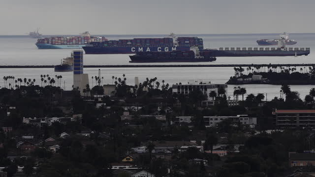 cargo ships anchored offshore from ports of long beach and los angeles dute to congestion. ship congestion around the ports of los angeles and long... - port of los angeles stock videos & royalty-free footage