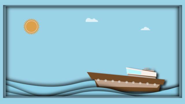 frachtschiffe segeln auf einem meer aus wolken und sonne. das konzept der papierfaltung, animation - nautical vessel stock-videos und b-roll-filmmaterial