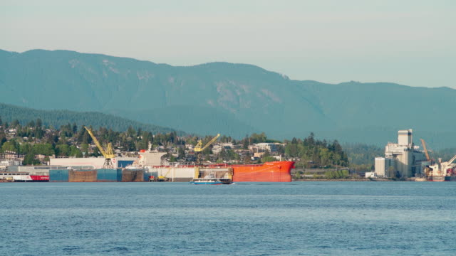cargo ships in docs in the industrial zone in vancouver harbor. vancouver, british columbia, canada. established video. - cargo ship stock videos & royalty-free footage