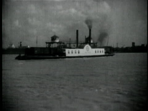 1929 b/w montage cargo train being ferried across river / new orleans, louisiana - 1920 1929 stock videos & royalty-free footage