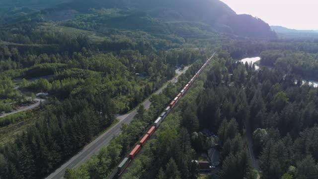 vidéos et rushes de train de cargaison transportant des conteneurs passant par chemin de fer dans les montagnes à proximité vidéo avec le mouvement de la caméra avant suivant le train. - nord ouest américain