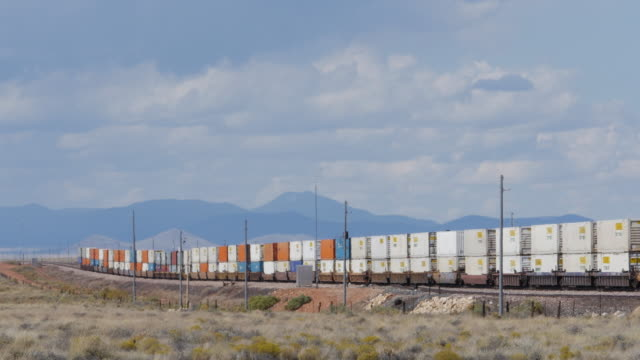 cargo train runs in the southwest of usa - rail freight stock videos and b-roll footage