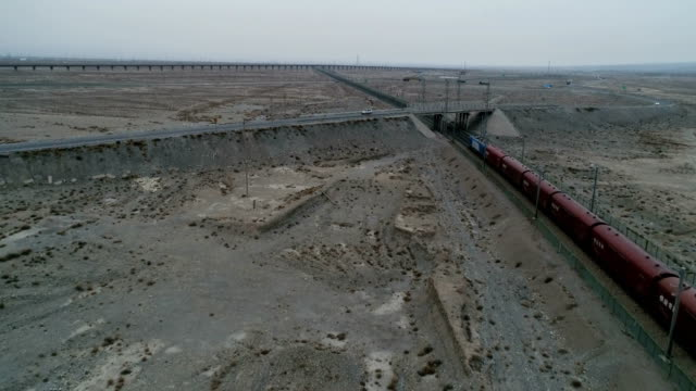 Cargo Train Runs on Lanxin Railway in China.