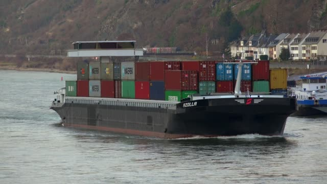 cargo vessel on rhine river near kaub, rhine valley, rhineland-palatinate, germany - rhineland palatinate stock videos & royalty-free footage