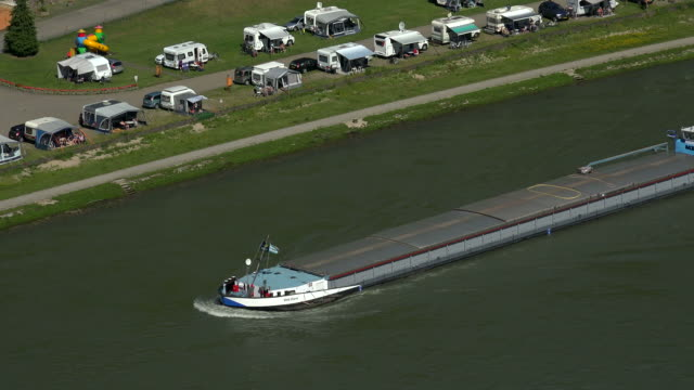 Cargo vessel on Rhine River near St. Goarshausen, Rhineland-Palatinate, Germany