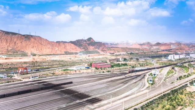 cargos railway station in lanzhou. timelapse - cargo train stock videos & royalty-free footage