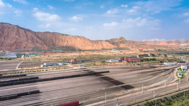 cargos railway station in lanzhou. timelapse
