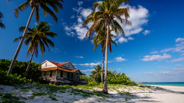 caribbean beach with old house in cuba - cuba stock videos and b-roll footage