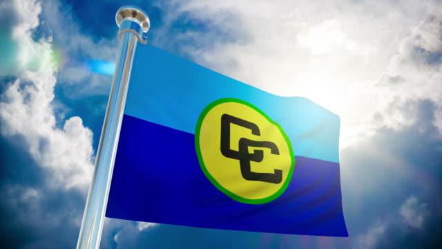 4k - caricom flag | loopable stock video - guyana stock videos & royalty-free footage