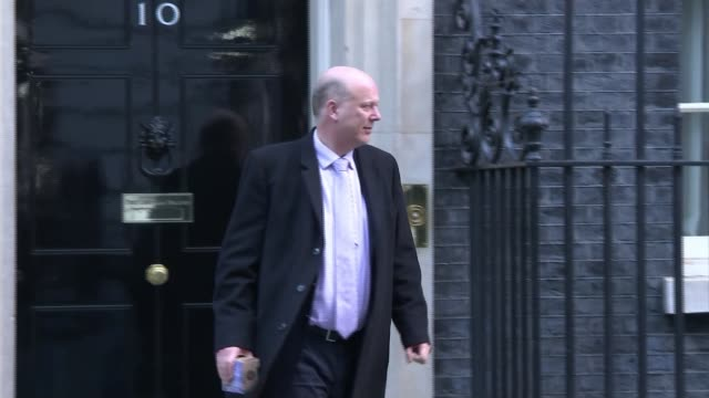 Government orders probe into Carillion bosses Downing Street EXT Chris Grayling MP from Number 10 and along ignoring unseen reporter shouted question...