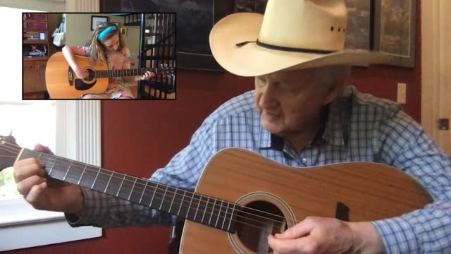 caring grandfather teaches his granddaughter how to play the guitar via video call (audio) - cowboy hat stock videos & royalty-free footage