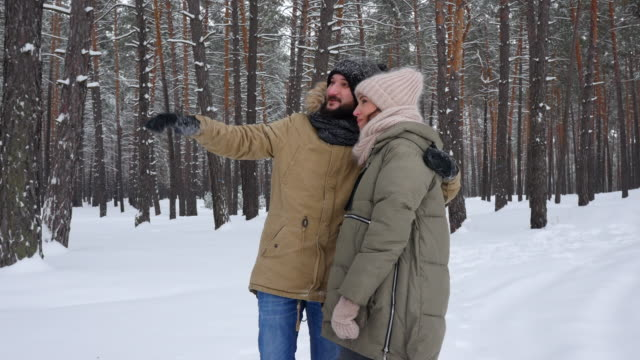 caring husband embracing and pointing upwards to his wife during the walk in the forest - mid distance stock videos & royalty-free footage