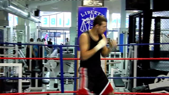 Nottingham INT Carl Froch training in ring in gym Froch shadow boxing