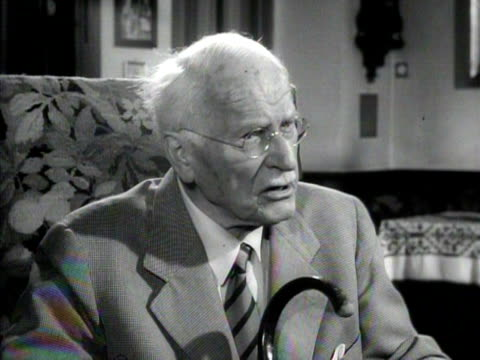 carl gustav jung discusses the need to study the psyche of man in relation to preventing future violent conflict - mental health professional stock videos & royalty-free footage