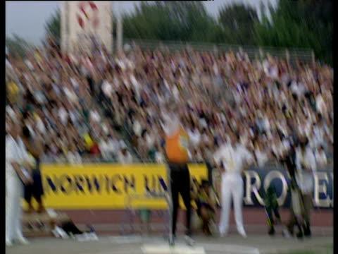 carl myerscough , shot put, launches put at 21.50m, crystal palace grand prix 2003, london - shot put stock videos & royalty-free footage