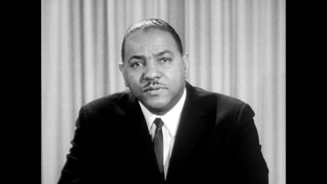 / carl t rowan the new african american director of united states information agency introduces film about the march on washington carl t rowan... - 1963 march on washington stock videos and b-roll footage