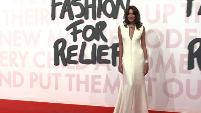 carla bruni at fashion for relief fashion catwalk - the 71st cannes fillm festival at aeroport cannes mandelieu on may 13, 2018 in cannes, france. - カンヌ・マンデリュー空港点の映像素材/bロール