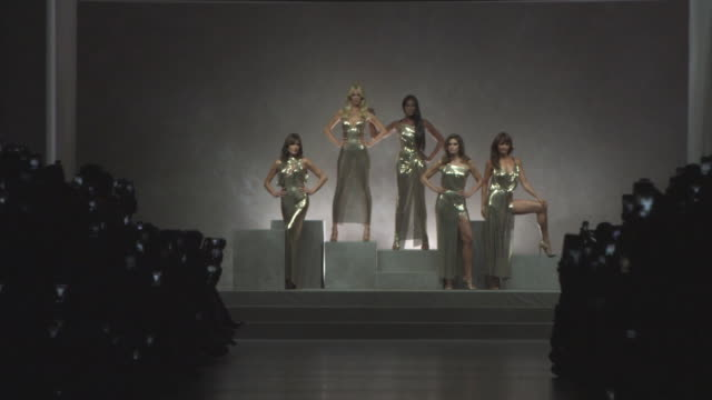 carla bruni, claudia schiffer, naomi campbell, cindy crawford, helena christensen at versace - mfw: s/s18 catwalk show on september 22, 2017 in... - versace designer label stock videos & royalty-free footage
