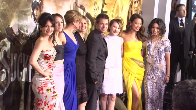 Carla Gugino Jena Malone Abbie Cornish Zack Snyder Emily Browning Jamie Chung and Vanessa Hudgens at the 'Sucker Punch' Premiere at Hollywood CA