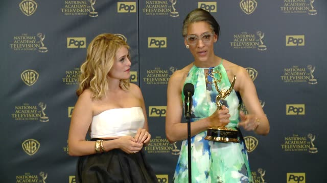 SPEECH Carla Hall Daphne Oz on winning the award at 42nd Annual Daytime EMMY Awards at Warner Bros Studios on April 26 2015 in Burbank California