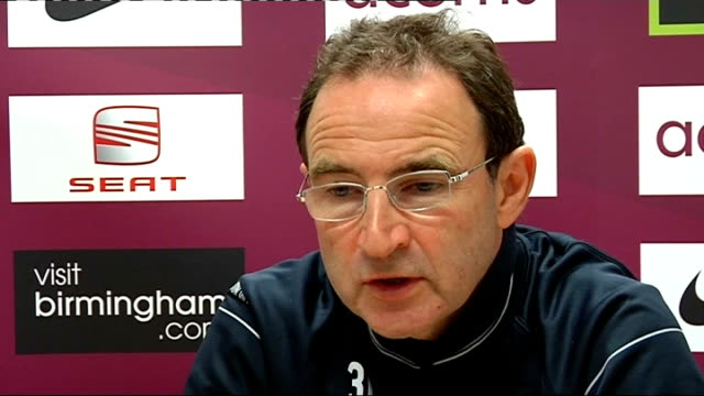 Aston Villa Martin O'Neill press conference ENGLAND Birmingham INT Martin O'Neill press conference SOT Will make couple of changes but still looking...