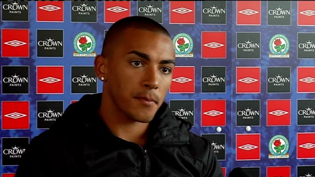 blackburn rovers press conference; danny simpson press conference sot - have spent last week in training working on defending as team so to get clean... - buzzing stock videos & royalty-free footage