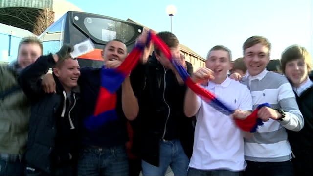 crystal palace prepare for match against manchester united palace fans jumping up and down singing 'we're the red and blue army' sot palace... - neckwear stock videos and b-roll footage