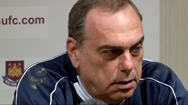 carling cup semi-final between west ham and birmingham: preview; england: london: int avram grant press conference sot - very exciting / everybody is... - 準決勝点の映像素材/bロール