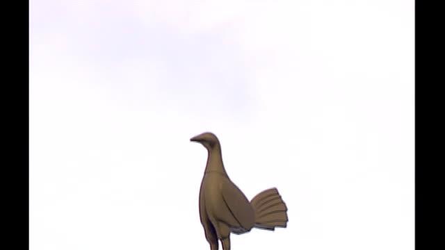 stockvideo's en b-roll-footage met carling cup semifinal statue of cockerel atop an orb - halve finale