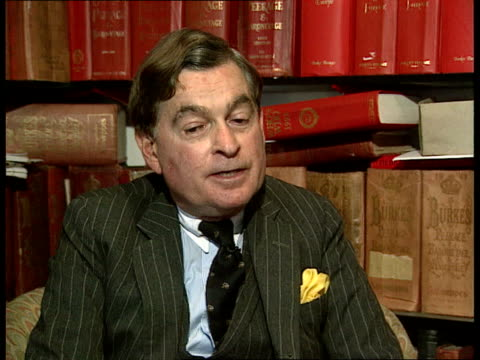 carling/ diana affair int ms harold brooksbaker at desk looking at books cms hand turning pages of burke's peerage cms harold brooksbaker intvw sot... - julia carling stock videos and b-roll footage