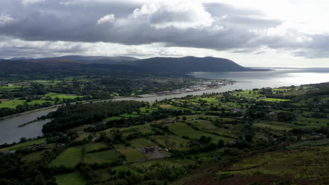 carlingford lough a main entry point for shipping on the east coast of the island of ireland and the most easterly point of the border that runs... - high up stock videos & royalty-free footage