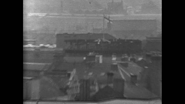 zi carlisle cityscape with smoking chimneys; carlisle, 1969. - moving past stock videos & royalty-free footage
