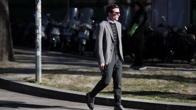 carlo sestini is seen wearing grey blazer jacket sunglasses during milan menswear fashion week autumn/winter 2019/20 on january 14 2019 in milan italy - grey jacket stock videos and b-roll footage