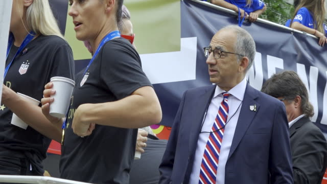 carlos cordeiro united states soccer federation president us women's national team signs autographs before the start of the parade from battery park... - united states national team stock videos & royalty-free footage