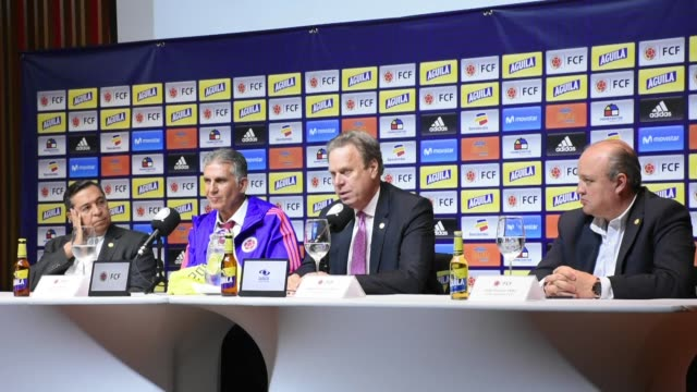 Carlos Queiroz is presented as the new head coach of the Colombian National Team at the sports headquarters of the Colombian Football Federation in...