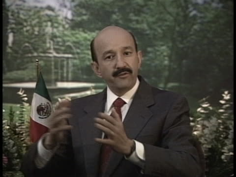carlos salinas de gortari is a mexican economist and politician affiliated to the institutional revolutionary party who served as president of mexico... - (war or terrorism or election or government or illness or news event or speech or politics or politician or conflict or military or extreme weather or business or economy) and not usa stock videos & royalty-free footage