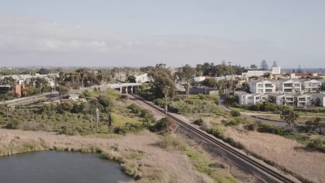 carlsbad california railroad tracks aerial - carlsbad california stock videos & royalty-free footage