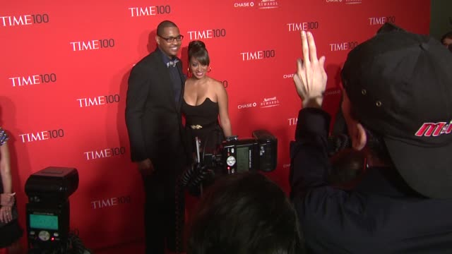 vídeos de stock, filmes e b-roll de carmelo anthony and lala vazquez at the time 100 gala time's 100 most influential people in the world at new york ny - evento anual